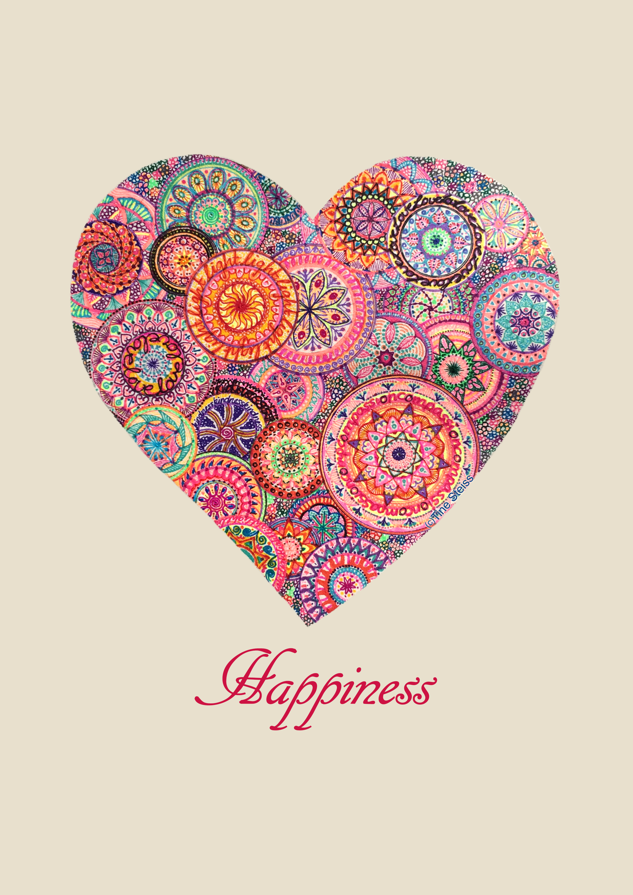 happiness heart mandala free printout artist tine steiss for happiness.org